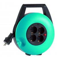 KBT08T HEDI Удлинитель на катушке (скрытый кабель)/4GS/IP20/8м H05VV-F3G1,5/зеленый
