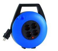 KBB10T HEDI Удлинитель на катушке (скрытый кабель)/4GS/IP20/10м H05VV-F3G1,5/синий