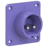 672v PCE Вилка встраиваемая 32A/24V/2P/IP44, никелированные контакты, фланец 70x70