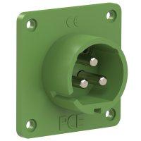 693-4v PCE Вилка встраиваемая 32A/24-42V/2P+E/IP44, никелированные контакты, фланец 70x70