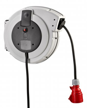 KBZD15162T HEDI Самосматывающийся удлинитель с креплением на стену/IP24/15м H07RN-F5G2,5/380V/серый