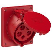 425-6f9 PCE Розетка встраиваемая наклонная 32A/400V/3P+N+E/IP44, фланец 92х100