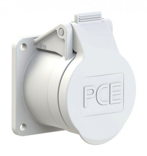 382-12f5v PCE Розетка встраиваемая 16А/42V/2P/IP44, фланец 55х55, никелированные контакты