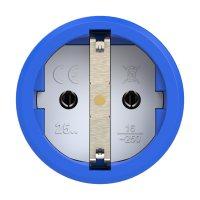 2510-bs PCE Розетка кабельная 16A/250V/2P+E/IP20 корпус синий, маркер черный