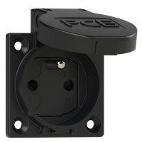 1040-0sc PCE Розетка встраиваемая 16A/250V/2P+E/IP54, фланец 50x50, черная, защитные шторки