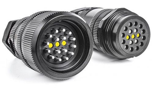 SSX16MVRSSMQNT00N Вилка кабельная SSX 16 pin, серебряное покрытие контактов, под пайку, каб. ввод 15-23 мм, контакты вставлены, черная