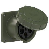 345-6.u PCE Розетка встраиваемая 125А/400V/3P+N+E/IP67, фланец 120x120, бронзово-зеленый