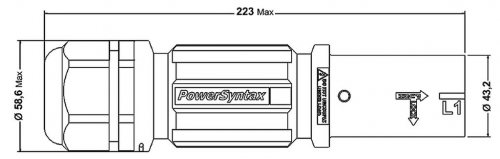 SPX7LS3GY240MU SPX 750А розетка кабельная Line 3, серая, под сальник М50, обжим кабеля от 30 до 38мм