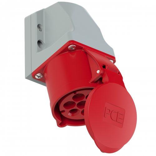 127-6v PCE Розетка настенная 32А/400V/6P+E/IP44, никелированные контакты