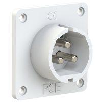 693-12v PCE Вилка встраиваемая 32A/42V/2P+E/IP44, никелированные контакты, фланец 70x70