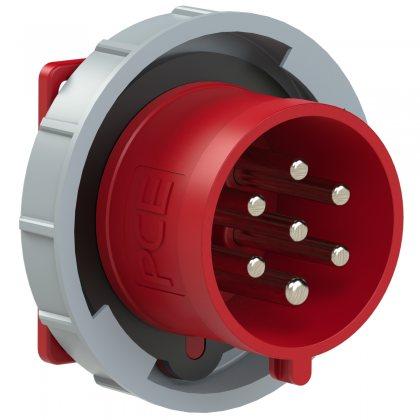 6272-6v Вилка встраиваемая 32A/400V/6P+E/IP67, фланец 75x75, никелированные контакты