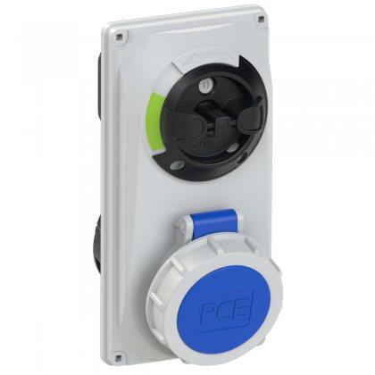 60132-6 PCE Розетка встраиваем 16А/230V/1P+N+E/P67, с выключателем и блокировкой