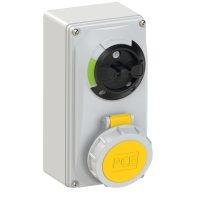 61132-4 PCE Розетка настенная с выкл. и блокир. 16А/110V/1P+N+E/IP67