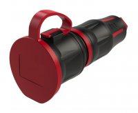 25731-srс PCE Розетка кабельная 16A/250V/2P+E/IP54 с крышкой, корпус черный, крышка и маркер красный, индикатор, шторки