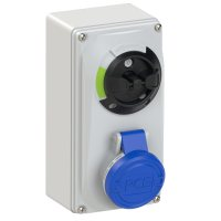 6113-6 PCE Розетка настенная 16A/230V/1P+N+E/IP44, с выключателем и блокировкой