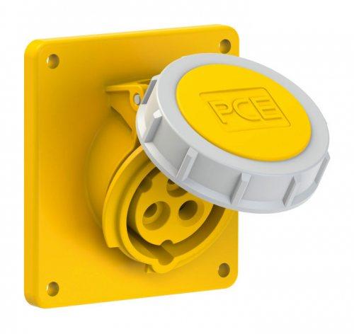 4132-4 PCE Розетка встраиваемая наклонная 16А/110V/1P+N+E/IP67, фланец 92x100