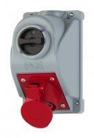 960615501 PCE Розетка 16A/3P+N+E/400V/IP44 с реверсивным переключателем L-0-R и блокировкой