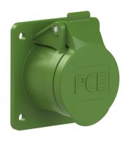 383-4f8v PCE Розетка встраиваемая 16А/24-42V/2P+E/IP44, фланец 60х70, никелированные контакты