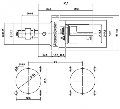 SPX4PD3GY SPX 400А вилка панельная L3, серая