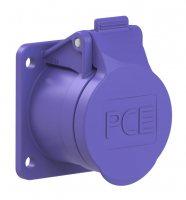 362f9v PCE Розетка встраиваемая 16А/24V/2P/IP44, фланец 54х60, никелированные контакты