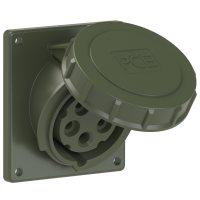 4152-6.u PCE Розетка встраиваемая наклонная 16А/400V/3P+N+E/IP67, фланец 92x100, бронзово-зелёный