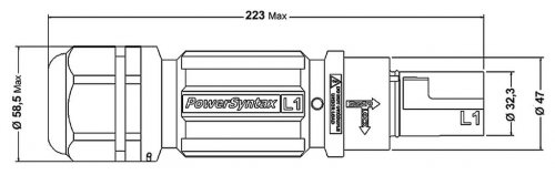 SPX4LD1BR075MR SPX 400А вилка кабельная L1, коричневая
