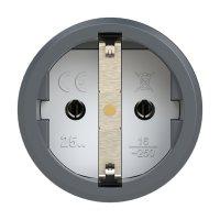 2510-as PCE Розетка кабельная 16A/250V/2P+E/IP20 корпус темносерый, маркер черный
