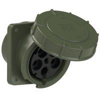 445-6.u PCE Розетка встраиваемая наклонная 125А/400V/3P+N+E/IP67, фланец 120x130, бронзово-зелёный