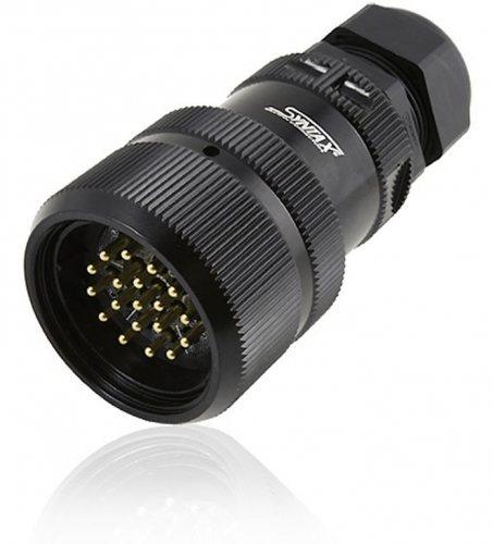 SSX19MVDSSMPNT SSX 19 pin вилка кабельная, серебрянное покрытие контактов, под пайку (каб. 19-28мм) M40, контакты вставлены
