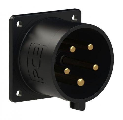 625-6xv PCE Вилка встраиваемая 32А/400V/3P+N+E/IP44 черная, никелированные контакты