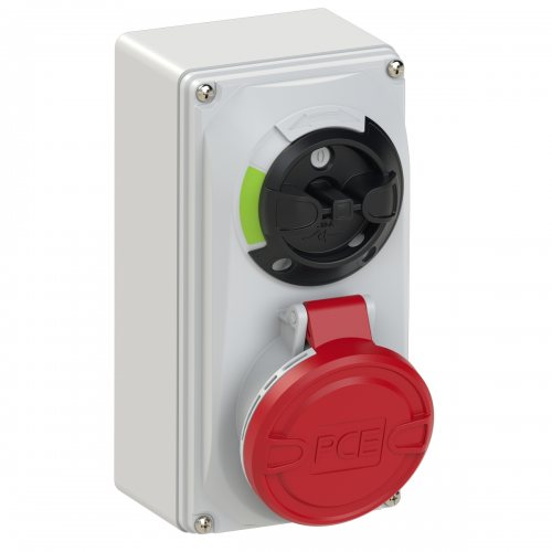 6115-6 PCE Розетка настенная 16А/400V/3P+N+E/IP44, с выключателем и блокировкой