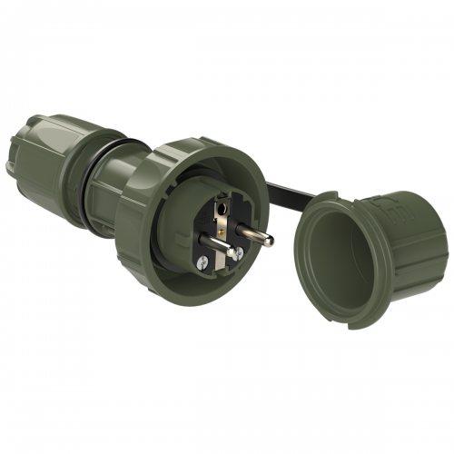 20051-u PCE Вилка кабельная 16А/250V/2P+E/IP68 NAUTILUS, бронзово-зеленая