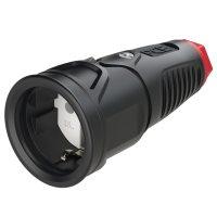 2510-srw PCE Розетка каб 16A/250V/2P+E/IP20 корпус черный, маркер красный