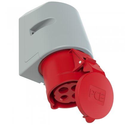 124-6tt PCE Розетка настенная 32А/400V/3P+E/IP44, безвинтовое подключение