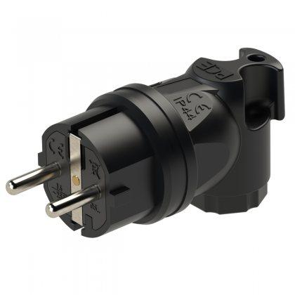 05812-S PCE Вилка кабельная угловая 16A/250V/2P+E/IP44 резиновый корпус черная