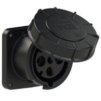 334-6xs PCE Розетка встраиваемая 63А/400V/3P+E/IP67, черная, фланец 120x120