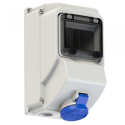 75133-6 PCE Розетка настенная 16А/230V/1P+N+E/IP44 никелированные контакты, окно 5 модулей, DIN-рейка