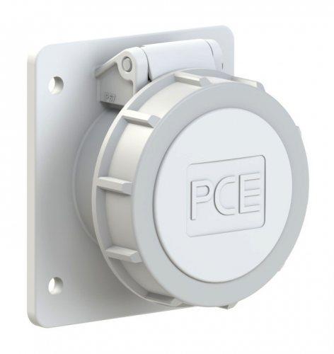 3832-12f87v PCE Розетка встраиваемая 16A/42V/2P+E/IP67, фланец 75x85, никелированные контакты