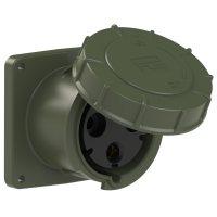 343-6.u PCE Розетка встраиваемая 125А/230V/1P+N+E/IP67, фланец 120x120, бронзово-зеленый