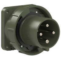 634-6.u PCE Вилка встраиваемая 63А/400V/3P+E/IP67, фланец 100x100, бронзово-зеленый