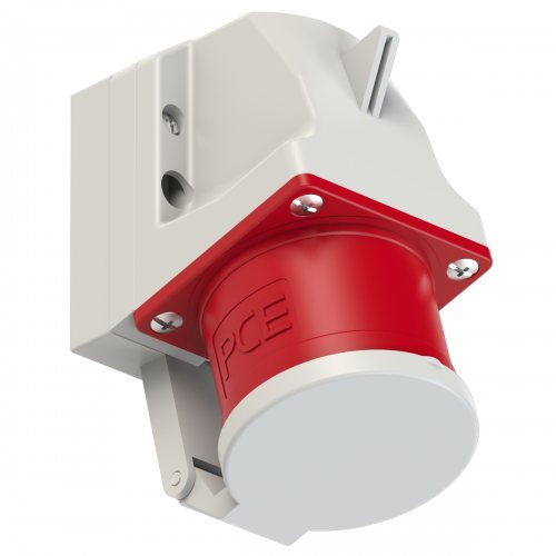 525-6d PCE Вилка настенная 32А/400V/3P+N+E/IP44 с крышкой