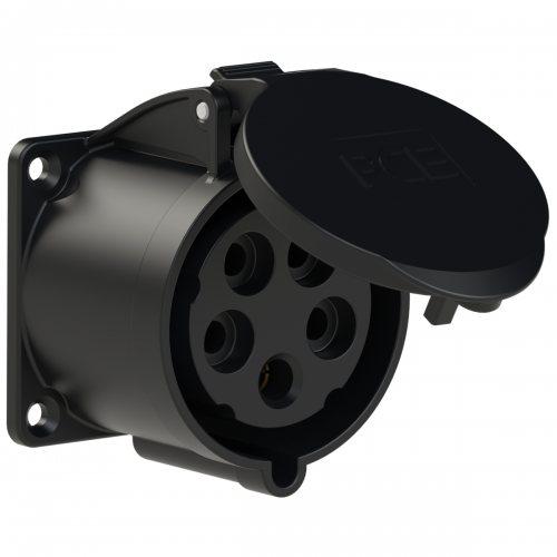 325-6x PCE Розетка встраиваемая 32А/400V/3P+N+E/IP44, черная, фланец 70x70