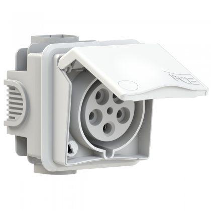 895-6v PCE Розетка встраиваемая 32А/400V/3P+N+E/IP44