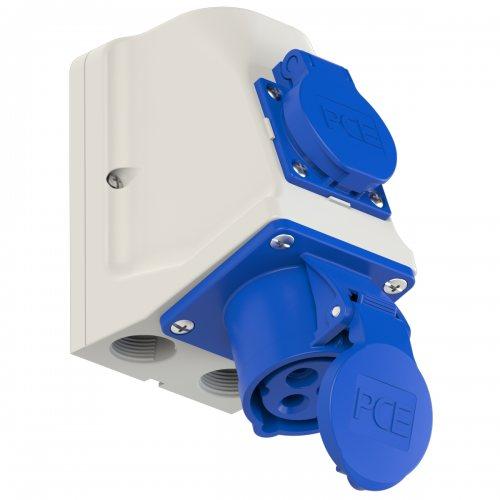 9213-6 PCE Розетка настенная комбинированная 16А/230V/1P+N+E/IP44 + 1GS