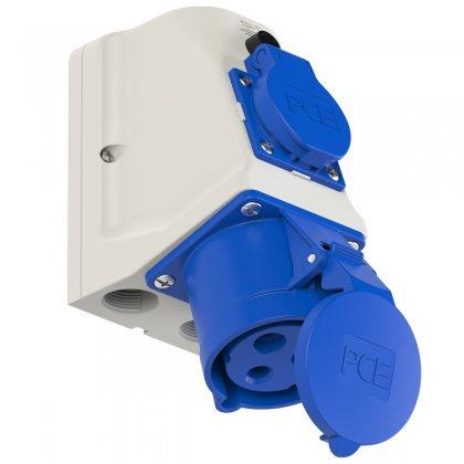9223-6 PCE Розетка настенная комбинированная 32А/230V/1P+N+E/IP44+1GS