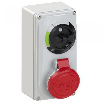 6114-6 PCE Розетка настенная 16А/400V/3P+E/IP44, с выключателем и блокировкой