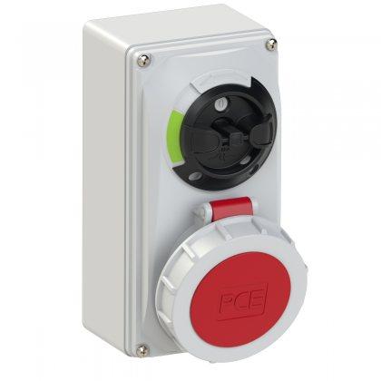 61152-6 PCE Розетка настенная 16А/400V/3P+N+E/IP67, с выключателем и блокировкой