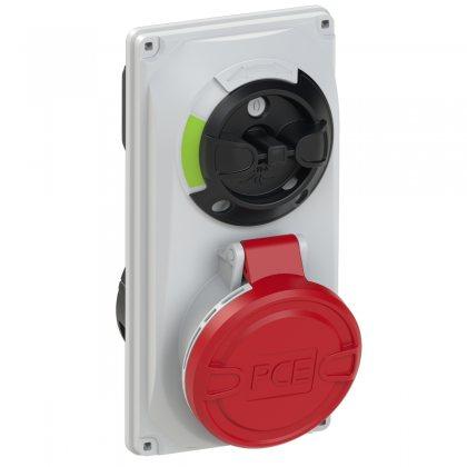 6015-6 PCE Розетка встраиваемая 16А/400V/3P+N+E/IP44, с выключателем и блокировкой