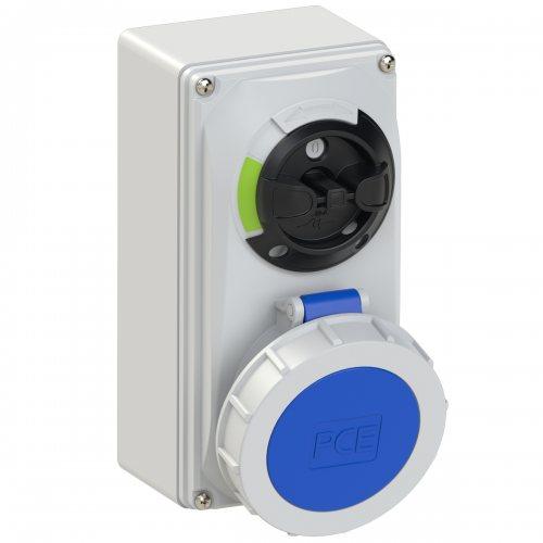61232-6 PCE Розетка настенная 32А/230V/1P+N+E/IP67, с выключателем и блокировкой
