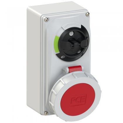 61242-6 PCE Розетка настенная 32А/400V/3P+E/IP67, с выключателем и блокировкой